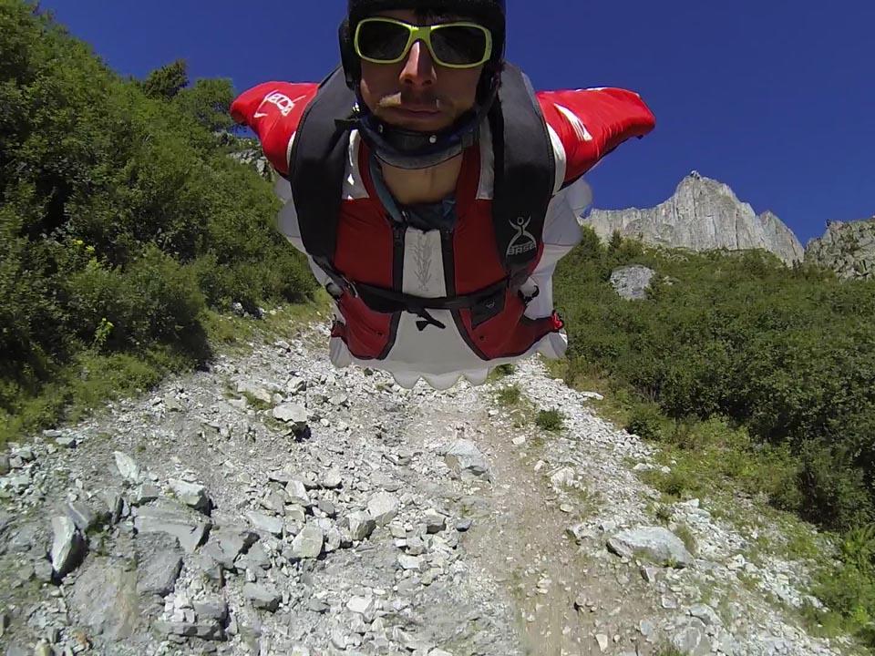 Wingsuit in the Ensa couloir, Chamonix
